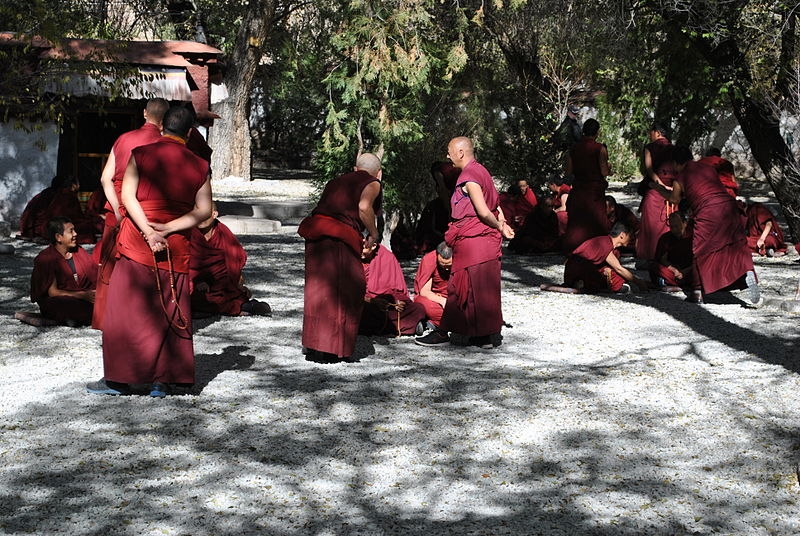 File:Monks debating, Sera monastery in Tibet, 2013.jpg