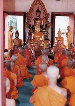 Candidate for the Buddhist priesthood is ordaining to is a monk in a church.jpg