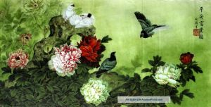 52x25inch oriental asian art chinese painting dove bird flower blossom 1 lgw.jpg
