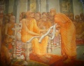 Buddhaghosa offering his commentaries.jpg